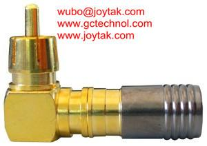 China RCA Connector Compression Type gold plated RCA male right angle for RG6 Coax Cable HDTV connector on sale