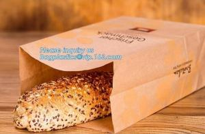 China Beautiful printing Food grade package bread takeout Brown Kraft Paper Bag for bakery retail,Best quality food grade cust on sale