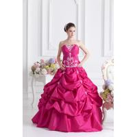 Appliqued Hot Pink Taffeta Quinceanera Party Dresses , Young Girls Strapless Ball Gown