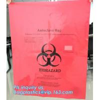 PE plastic Yellow first aid medical waste bag,infectious emergency autoclavable biohazard bag on roll, bagplastics, pac