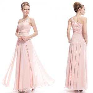 China Fashion Rhinestone Pleated Womens Prom Dresses One Shoulder Bridesmaid Dresses on sale