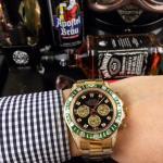Rolex Daytona Rose Gold Square Diamonds Bezel Automatic Watch - 1W0018