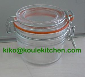 China glass storage jar with lid on sale
