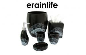 China Popular Decal Ceramic Bathroom Accessories Set Black Stoneware Waste basket on sale