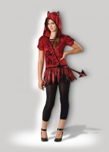 China Red Teen Girl Halloween Costumes Devil in da Hood 18004 for Party in Velvet on sale