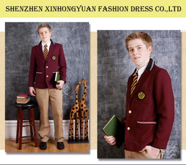 Classic Uk Style High School Uniforms Red Coat Checker Skirt