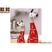The Nordic animals wooden crafts Hand-painted wooden crafts prosperous cat 2 piece wooden crafts