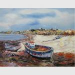 Hand Painted Fishing Boats Oil Paintings, Abstract Canvas Painting on Beach