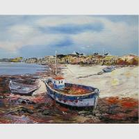 China Hand Painted Fishing Boats Oil Paintings, Abstract Canvas Painting on Beach on sale