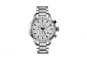 China Gold And Silver Men Stainless Steel Quartz Watch 100 Meter Water Resistant on sale