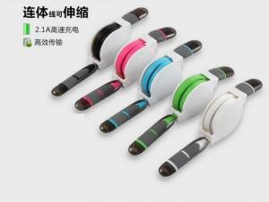 China High Speed 2 in 1 usb data cable sync charger Telescopic line Retractable usb cable iphone on sale