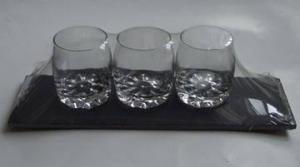 China Black, rectangle ,slate  board with mini -glasses set on sale