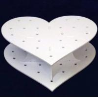 China Heart Shape Double Acrylic Wedding Cake Stand / White Display Stands on sale