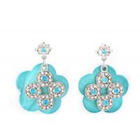 Silver Mother Of Pearl Stud / Drop Earrings Jewelry Carved Diamond Blue Flower