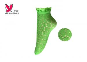 China Lace Opening  Women'S Fishnet Ankle Socks With Shiny Floral Lace OEM on sale