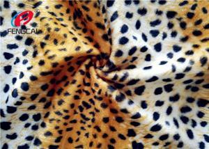 China Leopard Printed 144 F 100% Polyester Velvet Fabric Velboa Blanket 240 GSM Customized on sale