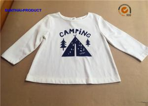 China Stylish Plain Infant T Shirts , Screen Print Back Placket Baby White Long Sleeve Shirt on sale