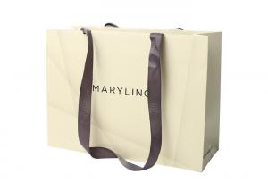 China Ribbon Handle Printed Paper Carry Bags Wholesale For Shopping / Product Packaging on sale