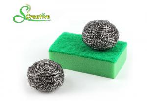 China Kitchen Cleaning Stainless Steel Scrubber Pads , Spiral Metal Pan Scourers on sale