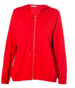 China Red Leisure Ladies Thin Jacket With Hat , Modern Spring Autumn Coat Womens on sale