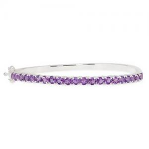 China 4 7/8 Carat Amethyst Sterling Silver Bangle Bracelet on sale