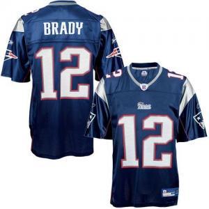 Reebok NFL Equipment New England Patriots  12 Tom Brady Navy Replica  Football 9a657f849