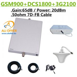 China 20dBm GSM DCS 3G 900 1800 2100 MHz TriBand Mobile Phone Signal Booster Repeater Amplifier+Panel+Dome Antenna+15m 7D-FD on sale