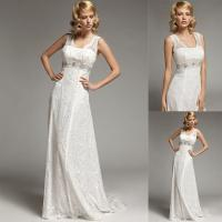 Empire Lace Sleeveless Womens Wedding Dresses Sweep Train Ball Gowns