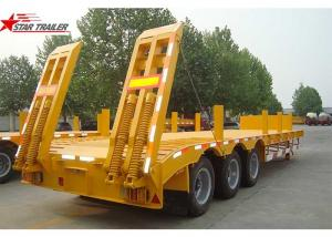China 45 - 100 Tons Lowboy Drop Deck Trailer , 3.5 Bolted King Pin Low Flatbed Trailer on sale