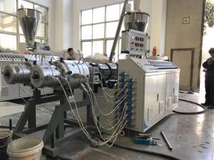 China Plastic Pvc Double Pipe / Profile Plastic Extruder Machine Single Screw Extruder on sale