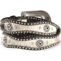 China top quality horse hair western belts for woman with rhinestone buckle on sale