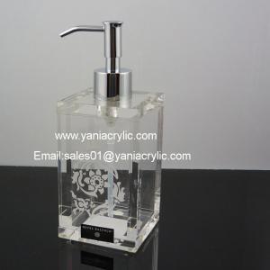 China Laser Engraved Acrylic Soap Dispenser Pattern Plexiglass Pump For Hotel on sale