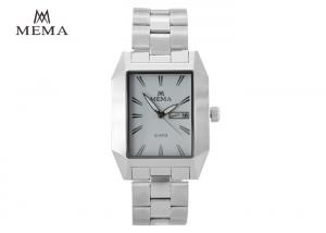 China Mens Silver Watch With White Face , Rectangular Dial Wrist Watches Steel Strap on sale