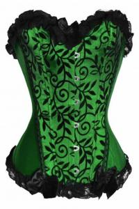 China Green Vines Velvet Strapless Burlesque Corset on sale