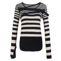 China Customized Nylon Striped fall sweaters women long sleeved sweater on sale