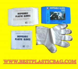 China PE Disposable Medical Surgical Gloves in bags/ Plastic Surgical Products/ dispenser gloves on sale