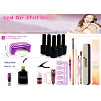 China OEM / ODM LED Nail Gel Kit With 12W LED UV Nail Lamp No Harm To Human Body on sale