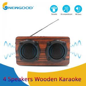 China 2019 year 4 speakers 2 diaphragms hifi portable wooden bluetooth speaker FM radio Wireless microphone megaphone on sale