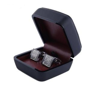 China Black Cufflink Gift Box with burgundy inside , Leather Cufflink Box on sale