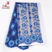 African Cord Multi Colored Flower Lace Fabric For Clothing