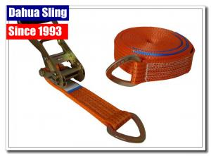 China 8 Meter D Ring Cargo Ratchet Tie Down Straps 2 Inch Polyester Webbing on sale