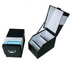 China Black Rigid Cardboard Storage Gift Boxes with Laminated, Hot Stamping for CD Case on sale