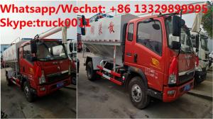 China SINO TRUK HOWO 4*2 LHD 12m3 bulk feed body truck for sale, 2018s new electronic discharging poutry feed pellet truck on sale
