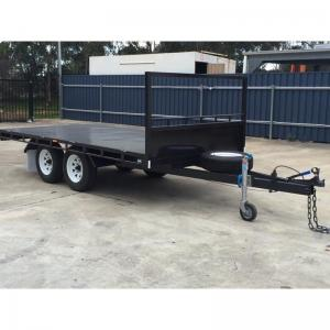 China 14 x 8ft Hydraulic Tipping Flat Top Tandem Trailer With Disc Brakes / LED Lights on sale