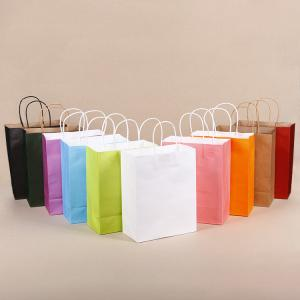 China Custom Logo Jewelry Clothes 100% Recyclable White Kraft Paper Shopping Bag on sale