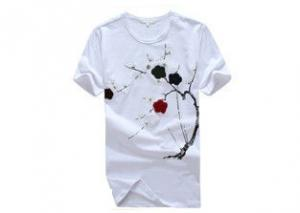 China Summer Slim Fit Printed T - Shirts With Pattern / Custom Casual White Tee Shirt on sale
