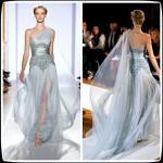 Blue One Shoulder Zuhair Murad Chiffon Long Evening Dresses Lace For Women