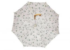 China Small Printed Straight Bone Wooden Stick Umbrella , Ladies Automatic Umbrella on sale