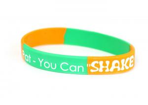 China Personalized Logo Debossed Sports Segmented Silicone Wristbands With Color Infilled on sale