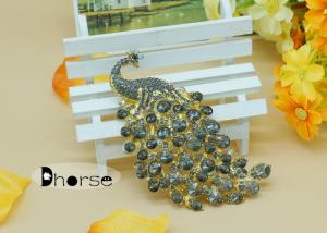 China Black Peacock Vintage Rhinestone Brooches With Gold Alloy , Rhinestone Bridal Brooches on sale